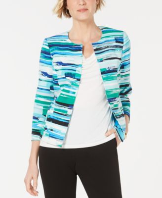 Printed Open-Front Blazer