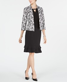 Kasper Printed Jacket, Keyhole Top & Ruffled Skirt
