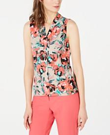 Calvin Klein Petite Floral V-Neck Top