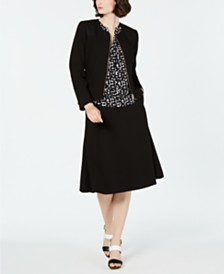 Calvin Klein Zip-Front Jacket, Printed Blouse & A-Line Skirt