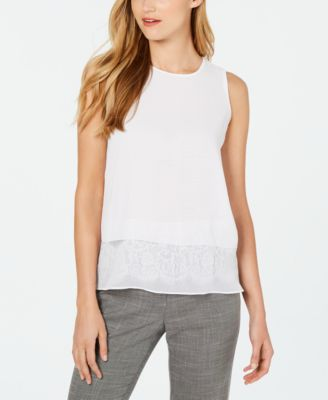 Sleeveless Lace-Hem Top
