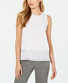 Calvin Klein Sleeveless Lace-Hem Top