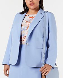 Bar III Plus Size Notch-Collar Single-Button Jacket, Created for Macy's