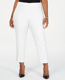 Kasper Plus Size Textured Stretch Slim Pants