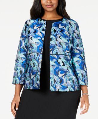 Plus Size Piped Jacquard Jacket