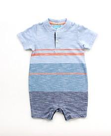 Baby Boy Short Sleeve Striped Henley Romper