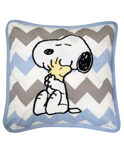 Lambs & Ivy My Little Snoopy™ & Woodstock Chevron Decorative Nursery Throw Pillow