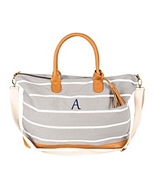 Personalized Grey Striped Oversized Weekender Tote