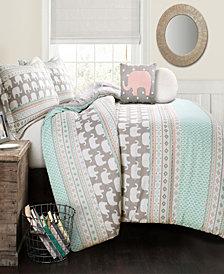 Elephant Stripe 5Pc Full/Queen Comforter Set