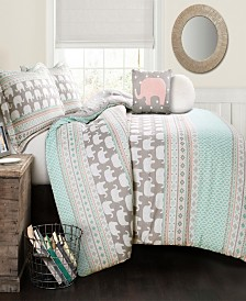 Elephant Stripe 5Pc Full/Queen Comforter Set