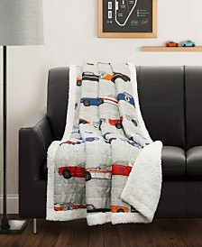 Race Cars Sherpa Throw