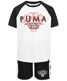 Puma Big Boys Raglan Logo T-Shirt & Side-Stripe Shorts Separates
