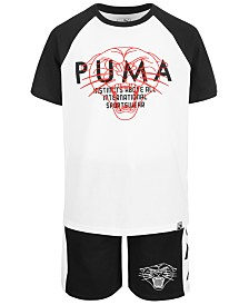 Puma Big Boys Raglan Logo T-Shirt & Side-Stripe Shorts Separates