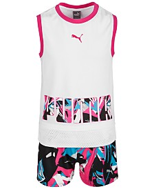 Puma Big Girls Mesh Tank & Printed Shorts Separates