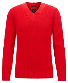 BOSS Men's T-Fulmino V-Neck Ribbed Cotton Sweater