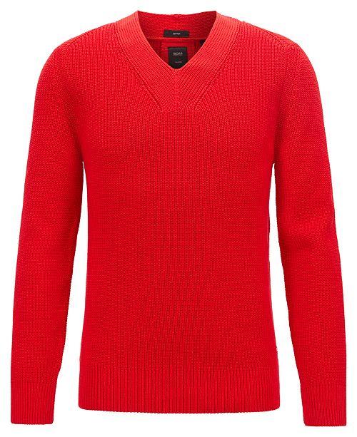 Hugo Boss BOSS Men's T-Fulmino V-Neck Ribbed Cotton Sweater