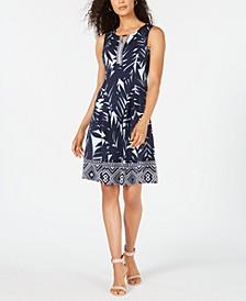 Petite Shaded Palm Keyhole Dress, Created for Macy's