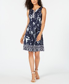JM Collection Petite Shaded Palm Keyhole Dress, Created for Macy's