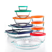 Pyrex 19-Piece Bake Store and Prep Set with Colored Lids