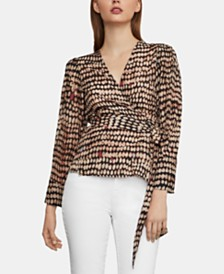 BCBGMAXAZRIA Pleated-Shoulder Wrap Top