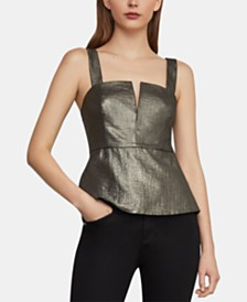 BCBGMAXAZRIA Metallic Peplum Top