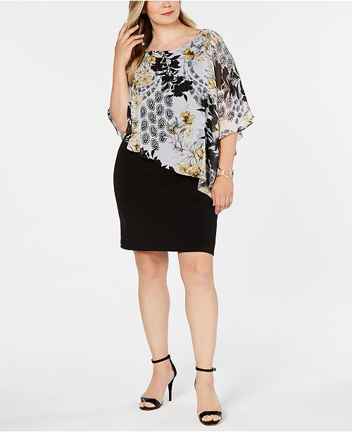 Connected Plus Size Printed Chiffon Cape Dress