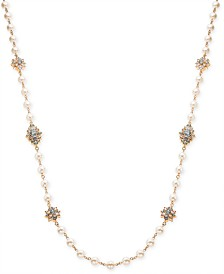 "Charter Club Gold-Tone Imitation Pearl & Crystal Long Necklace, 42"" + 2"" extender, Created for Macy's"