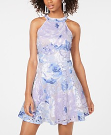Emerald Sundae Juniors' Printed Laser-Cut Fit & Flare Dress