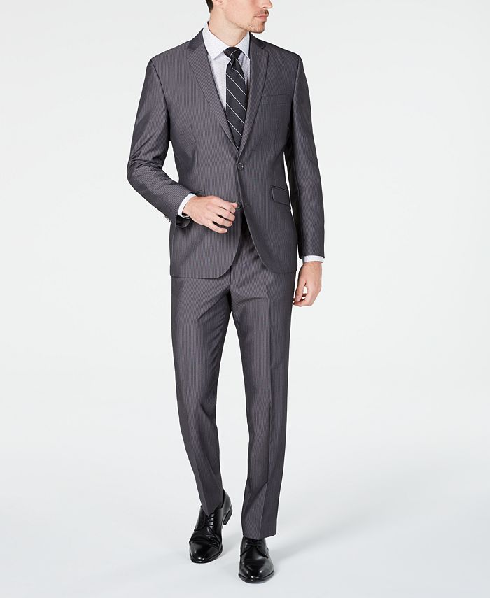 Kenneth Cole - Men's Slim-Fit Medium Gray Stripe Suit