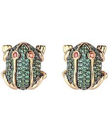 Green Cubic Zirconia Frog Stud Earring