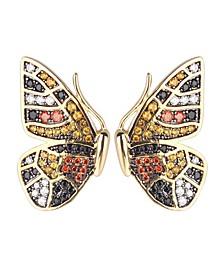Multi-Colored Cubic Zirconia Butterfly Wing Stud Earring
