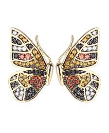 Noir Multi-Colored Cubic Zirconia Butterfly Wing Stud Earring