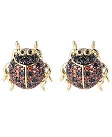 Red/Black Cubic Zirconia Ladybug Stud Earring