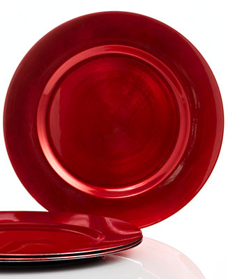 Charter Club Set Of 4 Red Chargers Fine China Macy S