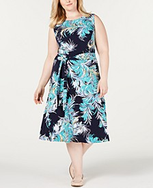 Plus Size Printed Midi Dress, Created for Macy's