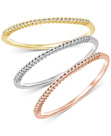 3-Pc. Set Diamond Tricolor Bands (1/6 ct. t.w.) in 14k Gold, White Gold & Rose Gold