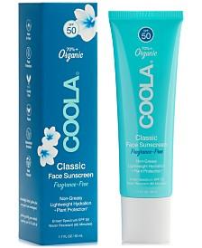 Coola Fragrance-Free Classic Face Sunscreen SPF 50, 1.7-oz.