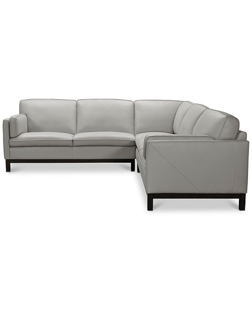 Virton 3-Pc. Leather L Sectional Sofa, Created for Macy\'s