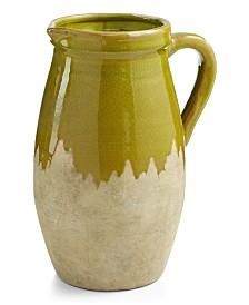 Home Essentials La Dolce Vita Large Green Ceramic Vase with Handle
