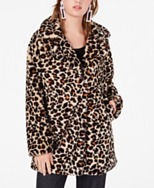 CoffeeShop Juniors' Leopard-Print Faux-Fur Coat