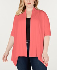 NY Collection Plus Size Handkerchief-Hem Open-Front Cardigan