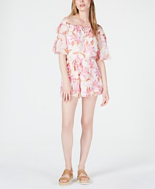 LEYDEN Printed Off-The-Shoulder Romper