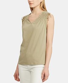Lauren Ralph Lauren Petite Tassel-Trim Cinched Cotton Top