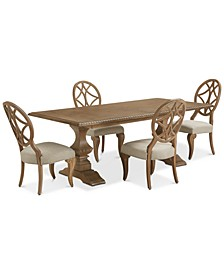 Trisha Yearwood Jasper County Stately Brown Rectangular Dining 5-Pc. Set (Table & 4 Side Chairs)