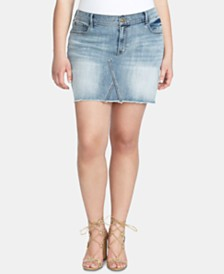 Jessica Simpson Trendy Plus Size Infinite High-Waist Denim Skirt