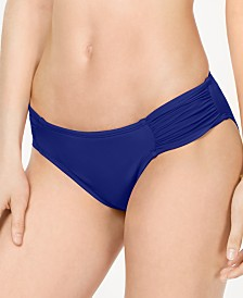 La Blanca Ruched Side-Tab Bikini Bottoms