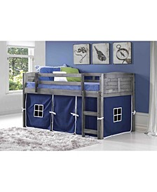 Twin Low Loft Bed with Tent