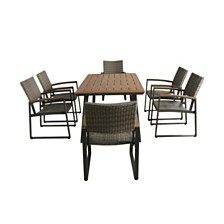 Leeds Outdoor 7pc Dining Set, Quick Ship