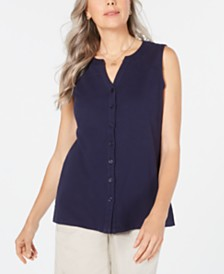 Karen Scott Cotton Sleeveless Button-Up Top, Created for Macy's