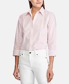 Lauren Ralph Lauren Button Down Non-Iron ¾ Sleeve Shirt